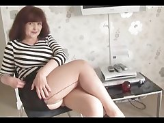Broad in the beam gut mature in unceremonious skirt and stockings