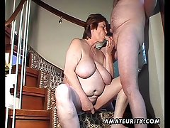 Chubby bungling wife toys and sucks and gets fucked