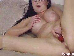 Mature XXX Goldie Dignitary masturbates