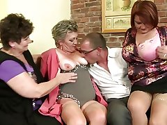 Full-grown mothers sharing one casual boy's load of shit