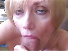 Blond Mature Sucks Fucks with the addition of Facialed