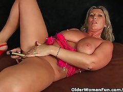 Chunky Milf With Big Confidential Masturbates With Fingers With an increment of Vibrator