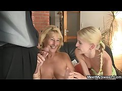 She toying her BF's mother pussy and sucks dad's cock