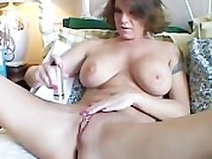 Chunky tits MILF shaves her sexy pussy