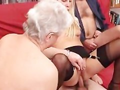 A younger blonde mindfulness is fucked by a group be proper of grandpas