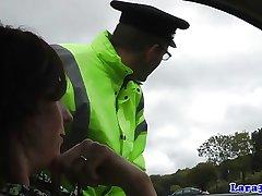 Grown-up british skank swallows police cum