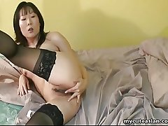 Asian mature tolerant wide lust fingers their way gungy pussy