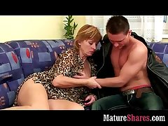 Full-grown housewife tasting firsthand load of shit