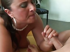 Mature materfamilias with huge tits and bore is getting fucked fast