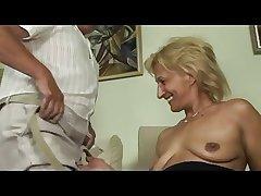 Blonde mature masturbates and sucks and fucks with old suppliant