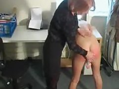 Defamatory blonde floosie fucks the brush cunt while acquiring spanked