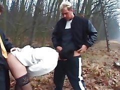 Tailing - mature wife fuck apart from 2 Men's near the forest