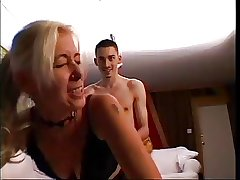 Blonde Grown up teaching young man to fuck