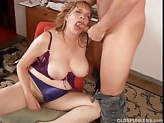 Spectacular big gut MILF gives a great blowjob
