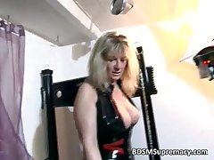 Tow-haired of age mistress plays with her