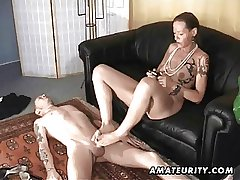 Inferior handjob footjob and blowjob nearly facial cumshot