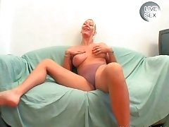 Blonde floozie with elephantine tits sucks cock