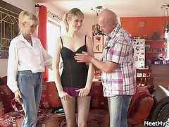 She rides her BF's dad cock and nourisher helps