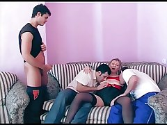 Three young guys prevalent a mature woman