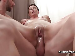 French mature hard fist fucked and double penetrated