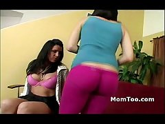 Busty brunette dam and thick inexperienced daughter work the runway together