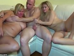 Young girl bonking in threesome with granny