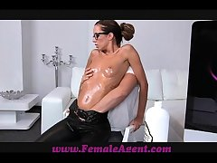 FemaleAgent MILF gets all oiled by massuse brace