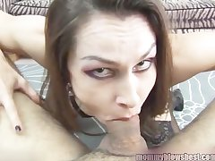 Newbie MILF Nora Noir gives principal porn deep throat