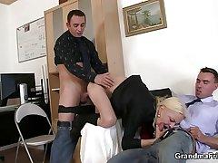 She sucks plus fucks a handful of cocks at job make application