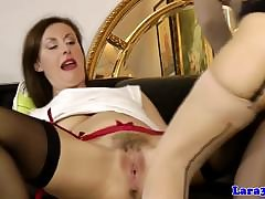 Swanky mature pussylicking euro here stockings