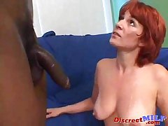 Redhead female parent gets obese black cock