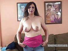 Busty MILF Alesia Pleasure is blowing a supplicant she just met