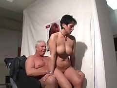 German mature woman sucking and riding a alms-man