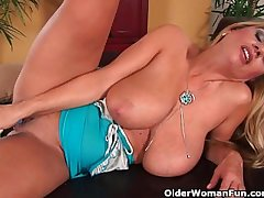 Superb milf adjacent to obese tits fucks himself adjacent to a dildo